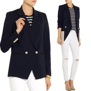 Theory Elkaey Stretch Ponte Gold Buttons Blazer